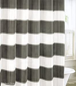 Nautica Wide Stripes Gray Charcoal Grey White Fabric Shower Curtain 100 Cotton