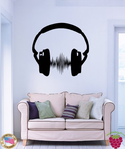 Wall Stickers Vinyl Decal Headphones Headphones Beat Music Z1149