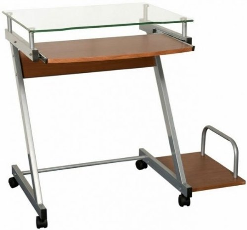 Buy Low Price Comfortable Compact Glass Top Computer Cart (Walnut) (29″H x 33.3″W x 19.7″D) (B003SA6OY0)
