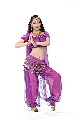 5pcs Romantic Purple Belly Dance Suits Lantern Pant + Veil With Short Sleeves