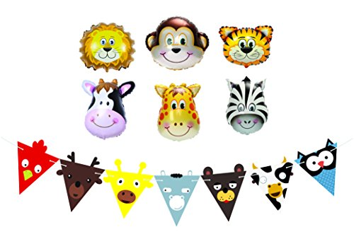 Happy-Birthday-Balloons-Party-Favors-and-Decorations-for-Kids-Birthday-Parties-Farm-Animal-Balloon-and-Banner-Set-Jungle-Safari-and-Zoo-Birthday-Party-Supplies
