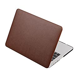 "CABLESETCâ""¢ PU Leather Coated Hard Case Cover For Apple Macbook Air 13.3 A1466 A1369 - Brown"