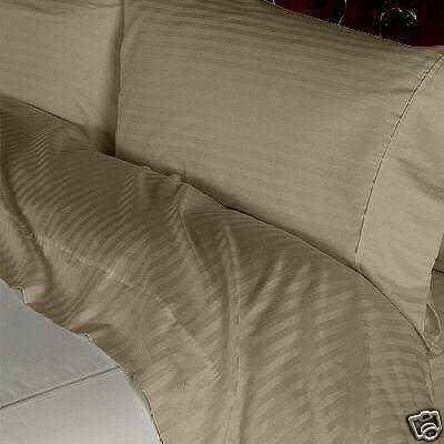 Stripes Taupe 300 Thread Count Twin Extra Long Size Sheet Set 100 % Egyptian Cotton 3Pc Bed Sheet Set (Deep Pocket)Twin Xl By Sheetsnthings front-544402