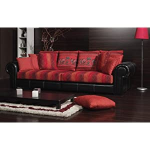 best discount big sofa kolonialstil kolonialsofa india in beige oder rot. Black Bedroom Furniture Sets. Home Design Ideas