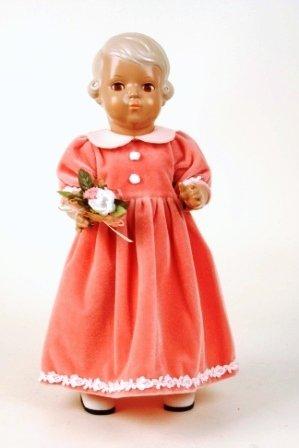 Schildkröt Puppe Inge, 41 cm, im langen festlichen Samtkleid