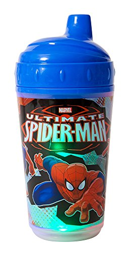 Marvel Spiderman Double Wall Led Light Up Sip Cup, Blue - 1