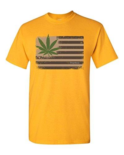 Pot-Leaf-USA-Flag-T-shirt-Marijuana-420-Shirts-Small-Gold-XIT-12967