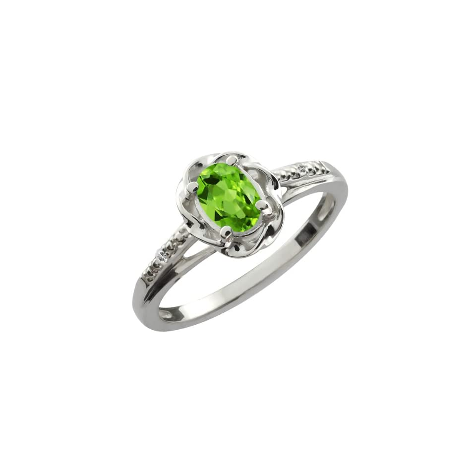 0.51 Ct Oval Green Peridot White Topaz Sterling Silver Ring