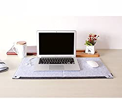 House of Quirk Multifunctional Protective Felt Mat ,Laptop Keyboard Mouse Felt Pad with Paper and Pen Pocket For Desktops (GREY)