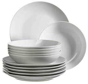 Domestic by Mäser, Serie Barca, Tafelservice 12-teilig mit je 6 Teller tief und flach, schlichtes, weißes Porzellan mit klassischer Form