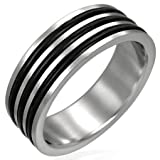 New Gents Stainless Steel Band Ring with Black Rubber Inlay Design, 8mm Wide.