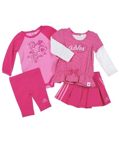 Adidas Baby-girls Infant 4 Piece Cheer Gift Set, Pink, 6 Months