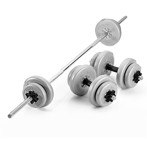 York Vinyl Barbell/Dumbbell Weights Set - 35kg