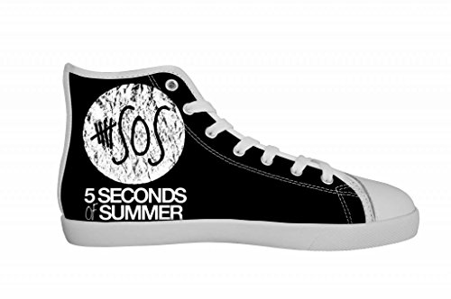 Rock Band 5SOS 5 Seconds of Summer Women's Canvas Shoes Women White High Top Canvas Shoes-6M US