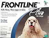 Frontline Plus for Dogs, For Dogs Blue,23-44 lbs; 6 Month Supply