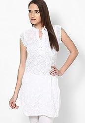Viba London Women Chikan Embroidered Kurti White Medium