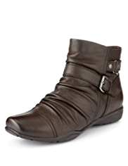 Footglove™ Leather Wide Fit Ruched Ankle Boots