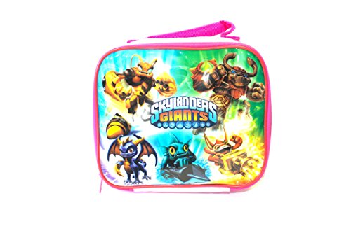 """Skylanders Giants Multi Character Pink Soft Sided Lunch Box (9"""" X 9"""" X 3"""")"""