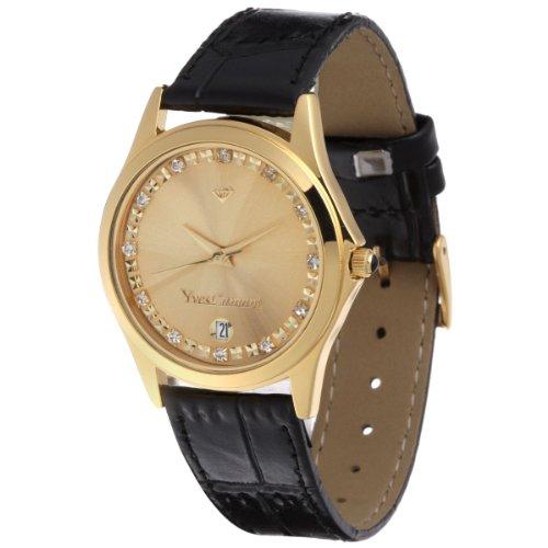 Yves Camani - 302-GGG - Montre Mixte - Quartz - Analogique - Bracelet cuir noir