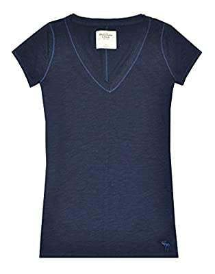 Abercrombie & Fitch Women V-neck Moose Logo Tee (L, Navy)