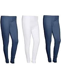 Indistar Women Cotton Legging Comfortable Stylish Churidar Full Length Women Leggings-Navy Blue/White-Free Size-Pack...