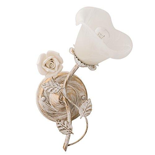 Applique style floral, moderne, armature en métal coloré en crème couleur et en or, plafonnier en verre en forme de fleur, décoré avec un fleur en ceramique blanc, Ø20cm 1 ampoule E14 1 x 60W 230V