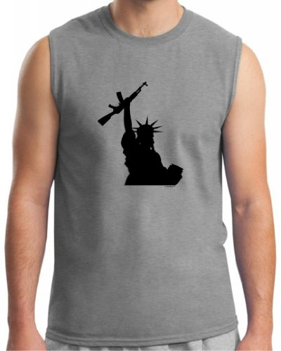 Statue Of Liberty Holding Assault Rifle Sleeveless T-Shirt 2Xl Sport Grey