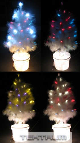 """Tektrum 23"""" White Feather Color Changing Fiber Optic Lights Tree With White LEDs For Christmas/Holiday/Party"""
