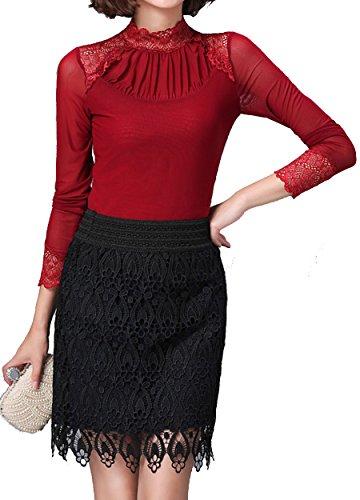 helan-womens-lace-high-neck-net-yarn-basic-blouse-top-shirt-uk-14-red