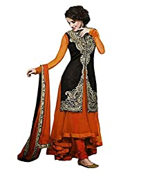 My online Shoppy Women's Georgette Semi Stitched Dress Material (My online Shoppy_113_Orange_Free Size)