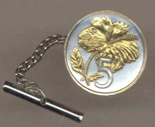 Two Tone Gold on Silver World Hibiscus Coin Tie Tack- 132TT