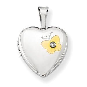 Diamond Heart Pendant in Sterling Silver - Round Brilliant Shape - Alluring