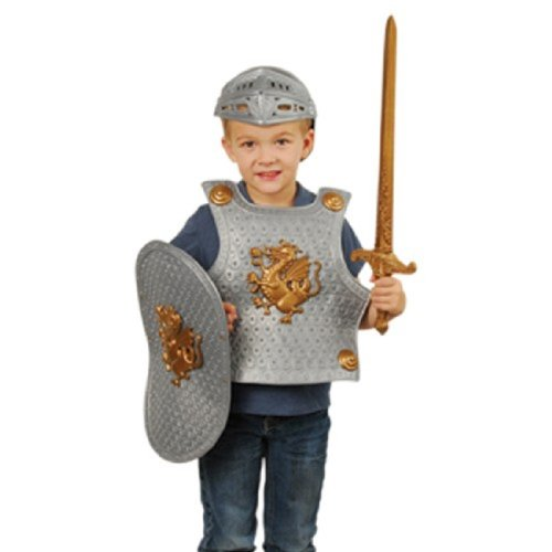 5pc Child Size Medieval Knight Costume With Shield & Helmet