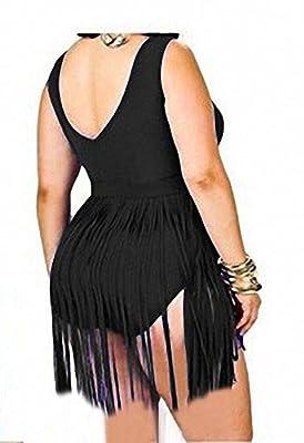Sportown® Women's Plus Size Retro Braided Fringe Top Bikini one piece swimwear set