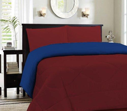 King Burgundy/Navy Cozy Reversible Comforter Set