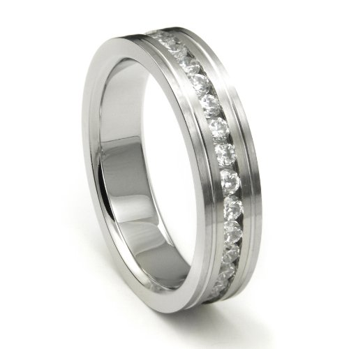 7MM 316L Stainless Steel Cubic Zirconia Eternity Wedding Band Ring Sz 9