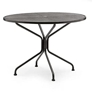 Woodard Woodard Ready-To-Assemble Wrought Iron Patio Dining Table, Wrought Iron, 42 x 60 in. Rectangle with Umbrella Hole