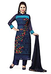 Navy Blue Georgette Embroidered Unstitcehed Dress Material