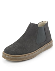 Suede Side Zip Panelled Chelsea Boots