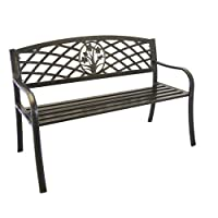 Metal Bouquet Park Bench - Cast Iron Bench for Yard or Garden Product SKU: PB11117