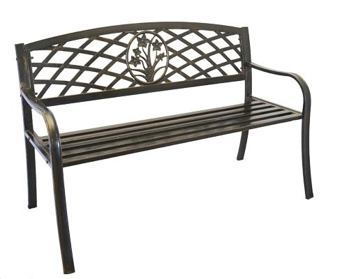 Metal Bouquet Park Bench – Cast Iron Bench for Yard or Garden Product SKU: PB11117