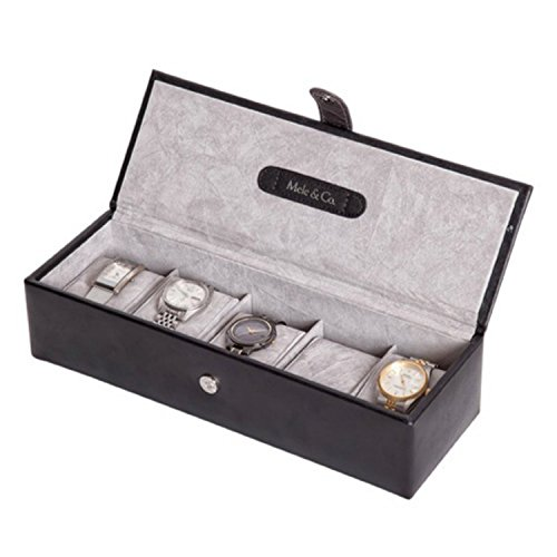 black-genuine-bonded-leather-5-watch-display-box-case-by-mele-co