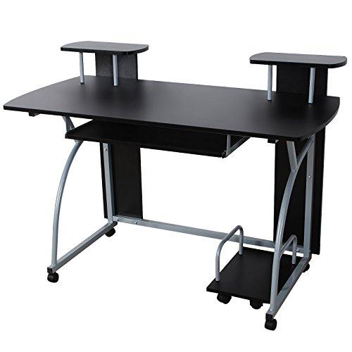 Songmics-120-x-59-x-90-cm-Computerschreibtisch-mit-Tastaturauszug-2-Regale-8-Kunststoffrollen-schwarz-PC-Tisch-fr-das-Home-Office-LCD812B