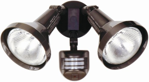 Designers Edge L976BR Outdoor Flood Light Fixture, Two Socket with Motion Sensor, Bronze