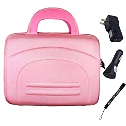 Hard Nylon Carrying Briefcase Cube For Toshiba Excite 10.1-inch Tablets + Car USB Charger Home USB Charger + Hand Strap