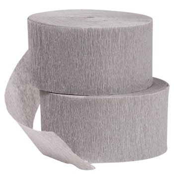 4 ROLLS Crepe Paper Streamers 290 ft Total-Made in USA (Gray)