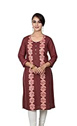 Maroon Embroided 3/4 Sleeves Kurta
