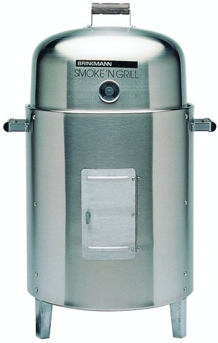 Brinkmann 810-5305-6 Smoke'N Grill Charcoal Smoker and Grill, Stainless Steel