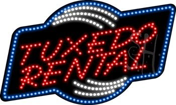 "Tuxedo Rental Animated Outdoor Led Sign 18"" Tall X 30"" Wide X 3.5"" Deep"