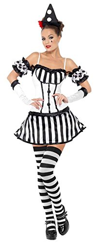 Fever Women's Clown Mime Diva Costume with Hat Sleeves Gloves and Dress